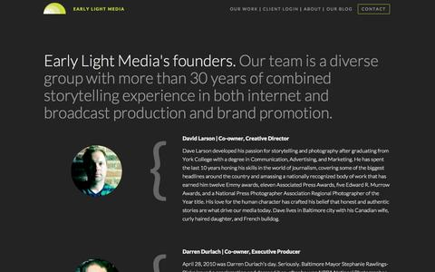 Screenshot of About Page earlylightmedia.com - Early Light Media |  	Early Light Media's founders. - captured Sept. 27, 2014