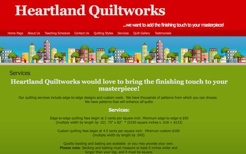 Screenshot of Services Page heartlandquiltworks.net - Services - captured July 21, 2015