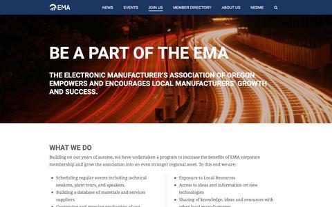 Screenshot of Signup Page ema-oregon.org - Join Us | Electronics Manufacturers Association - captured Sept. 27, 2018