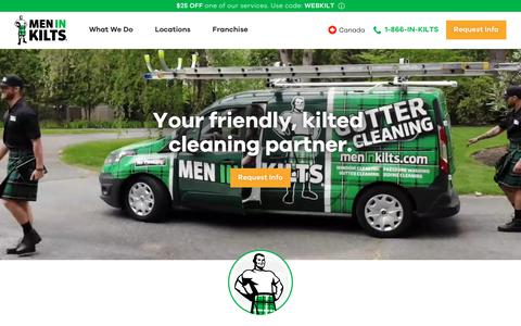 Screenshot of Home Page meninkilts.com - Window Cleaning, Gutter Cleaning, House Washing, Pressure Washing | Men in Kilts - captured Aug. 22, 2019