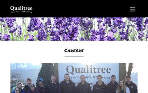 Screenshot of Jobs Page qualitree.com - Qualitree Propagators Inc. |   CAREERS - captured Nov. 7, 2016