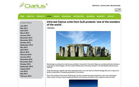 Screenshot of Press Page advanced-led-technology.com - Infra-red Clarius units from GJD protects 'one of the wonders of the world'. - captured Oct. 4, 2014