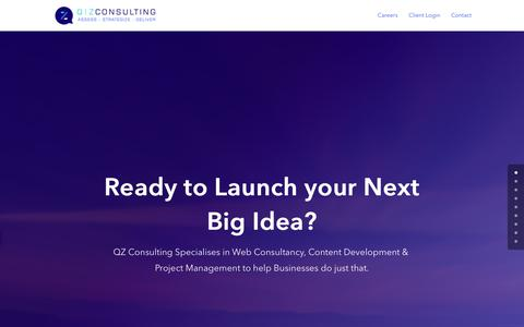 Screenshot of Home Page qzconsult.com - QZ Consulting - Web Consulting & Project Management Services - captured Sept. 27, 2018