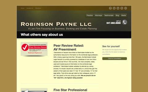 Screenshot of Testimonials Page robinsonpayne.com - Testimonials - Robinson Payne LLC - captured Oct. 27, 2014