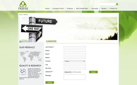 Screenshot of Jobs Page pravek.com - Careers | Pravek Kalp - A leading herbal products supplier in India. - captured Oct. 3, 2014