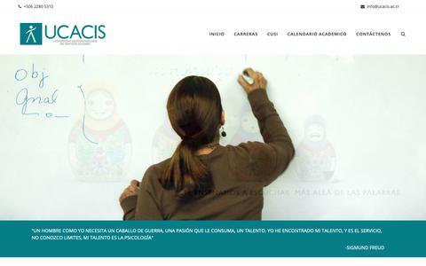 Screenshot of Home Page ucacis.ac.cr - Ucacis – Los especialistas en Psicología - captured Dec. 20, 2018