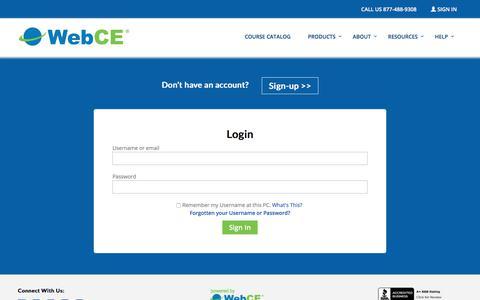 Sign In | WebCE