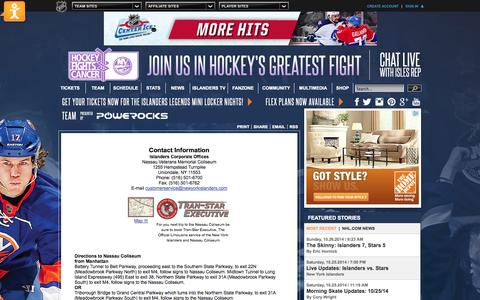 Screenshot of Maps & Directions Page nhl.com - Directions - New York Islanders - Team - captured Oct. 26, 2014