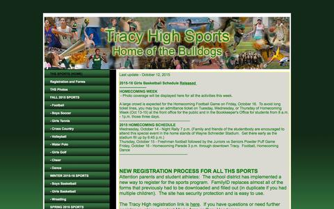 Screenshot of Home Page tracyhighsports.com - Tracy High Sports - captured Oct. 17, 2015