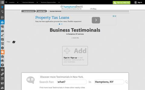 Screenshot of Testimonials Page hamptonsdirect.info - Hamptons, NY Testimonials | HamptonsDirect.info - captured April 23, 2016