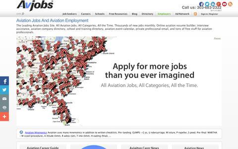 Screenshot of Home Page avjobs.com - Aviation Jobs and Aviation Employment - captured Sept. 24, 2014