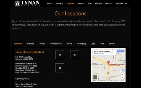 Screenshot of Locations Page tynan.com.au - Locations - Tynan Motors Car Sales - captured Feb. 16, 2016