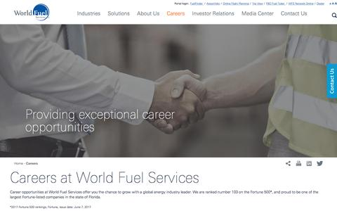 Screenshot of Jobs Page wfscorp.com - Careers – World Fuel Services Job Openings – Be part of a successful global company - captured April 14, 2018