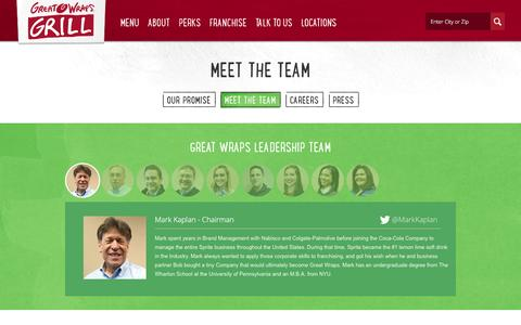 Screenshot of Team Page greatwraps.com - Meet the Team - Great Wraps - captured Dec. 14, 2015