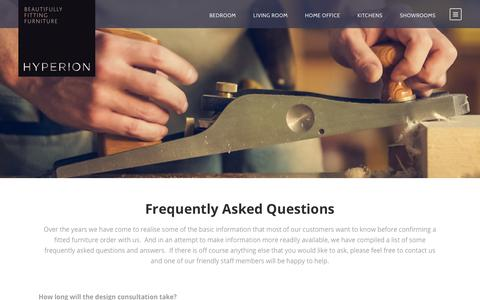 Screenshot of FAQ Page hyperion-furniture.co.uk - Frequently Asked Questions about our Fitted Furniture   Hyperion Furniture - captured July 24, 2018