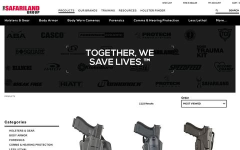Screenshot of Products Page safariland.com - Law Enforcement Gear | The SAFARILAND Group - captured July 21, 2016