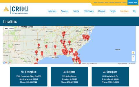 Screenshot of Locations Page cricpa.com - CRI Locations   CRI   Carr, Riggs & Ingram - captured July 16, 2017