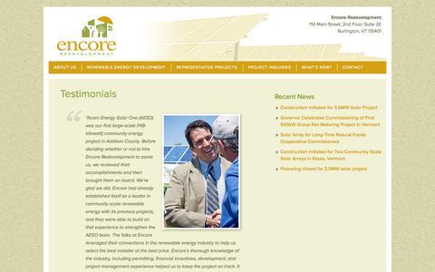 Screenshot of Testimonials Page encoreredevelopment.com - Encore Redevelopement Testimonials from Greg Pahl, Kevin Owens, Dave Farrington, John Ewing - captured Sept. 30, 2014