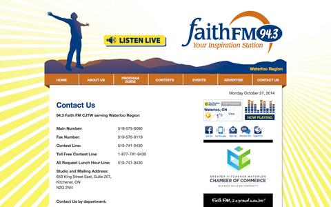 Screenshot of Contact Page faithfm.org - Contact Us | Welcome to FaithFM 94.3 – your Inspiration Station! - captured Oct. 27, 2014