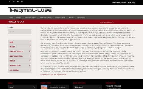 Screenshot of Privacy Page thermal-lube.com - Privacy Policy - THERMAL-LUBE - captured Oct. 7, 2014