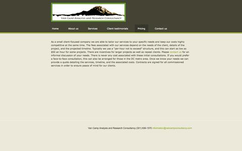 Screenshot of Pricing Page vancampconsultancy.com - Pricing - Van Camp Analysis and Research Consultancy - captured Oct. 26, 2014