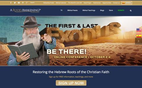 Screenshot of Home Page aroodawakening.tv - The Worlds Leading Messianic Ministry   Hebrew Roots - captured Oct. 2, 2015