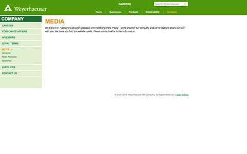 Screenshot of Press Page weyerhaeuser.com - Media - captured Nov. 3, 2014