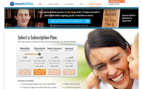 Screenshot of Pricing Page mendability.com - Mendability | Autism Treatment Made Affordable - captured Oct. 27, 2014