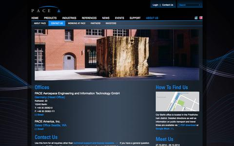 Screenshot of Contact Page pace.de - PACE -Contact Us - captured Oct. 28, 2014