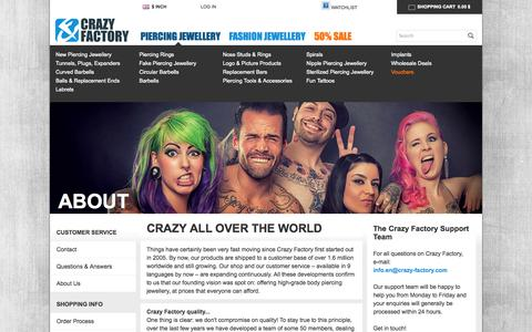 Screenshot of About Page crazy-factory.com - About - Crazy Factory Piercing - captured Nov. 4, 2014