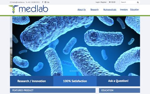 Screenshot of Home Page medlab.co - Medlab Home - captured Oct. 6, 2014