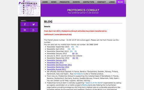 Screenshot of Blog proteomicsconsult.com - BLOG - Proteomics Consult - captured Nov. 13, 2019