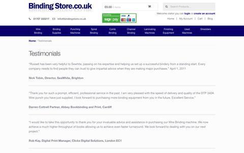 Screenshot of Testimonials Page bindingstore.co.uk - Testimonials - captured Jan. 4, 2016