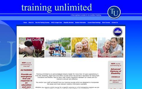Screenshot of Home Page trainingunlimited.com.au - Training Unlimited specialises in First Aid, Disability work, HACC & Aged Care . Government funding - captured Oct. 7, 2014