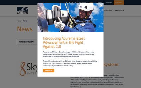 Screenshot of Press Page acuren.com - News - Acuren - captured July 29, 2018
