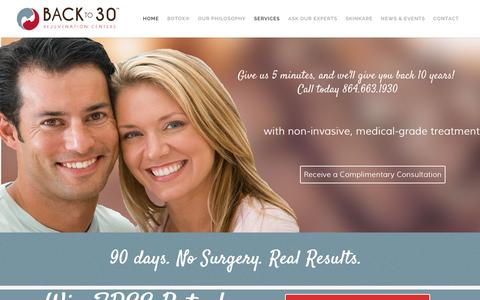 Screenshot of Home Page backto30.com - Back To 30 | CoolSculpting | Ultherapy | HRT | IPL | Botox - captured Feb. 7, 2016