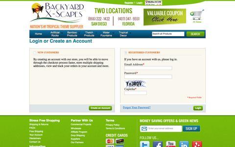 Screenshot of Login Page backyardxscapes.com - Customer Login - captured Sept. 23, 2014