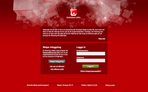 Screenshot of Login Page svenskaspel.se - Gräsroten - Partner - captured Sept. 18, 2014
