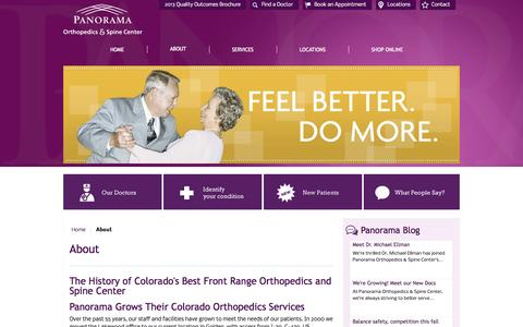 Screenshot of About Page panoramaortho.com - About - captured Oct. 1, 2014