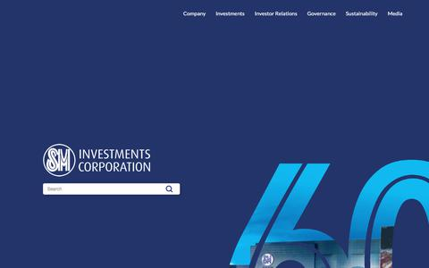Screenshot of Home Page sminvestments.com - SM Investments Corporation - captured Aug. 18, 2019