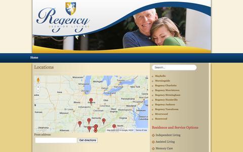 Screenshot of Locations Page regencyseniorliving.com - Retirement Living Chattanooga, TN - captured Oct. 7, 2014