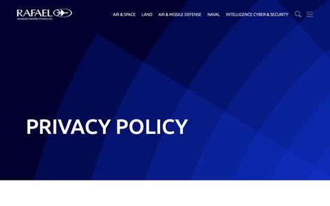 Screenshot of Privacy Page rafael.co.il - Privacy Policy – Rafael - captured May 16, 2019