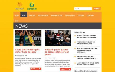 Screenshot of Press Page netball.com.au - Netball Australia | - captured Nov. 3, 2014