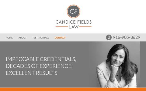 Screenshot of Contact Page candicefieldslaw.com - Contact | Candice L. Fields | Sacramento, California - captured Nov. 4, 2018