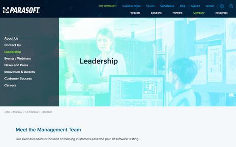 Screenshot of Team Page parasoft.com - Leadership | Parasoft - captured July 4, 2019