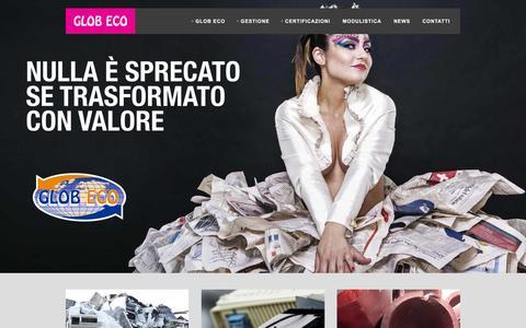 Screenshot of Home Page globeco.info - Rifiuti speciali: raccolta e trattamento - Glob Eco Srl - Molfetta - captured Jan. 29, 2016
