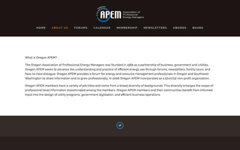 Screenshot of About Page oregonapem.org - About Us — Oregon APEM - captured June 18, 2017