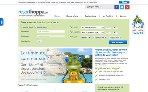 Screenshot of Home Page resorthoppa.com - Airport Transfers | Shuttles & Taxi Transfers | Resorthoppa.com - captured Sept. 22, 2014