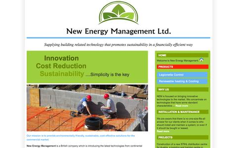 Screenshot of Home Page newenergymanagement.co.uk - New Energy Management > Legionella Control System > The Midlands UK - captured Oct. 4, 2014