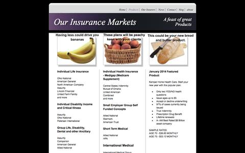 Screenshot of Products Page brodskyagency.com - Life and Health Insurance Brokerage from The Brodsky Agency - captured Jan. 26, 2016